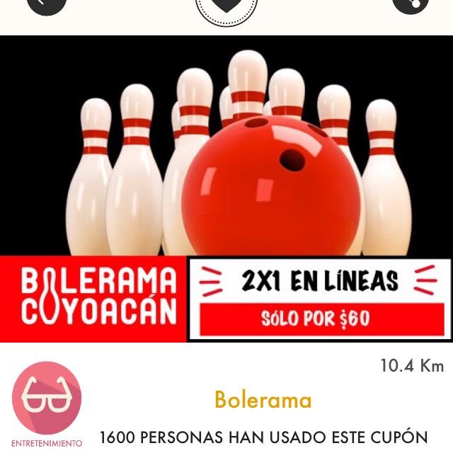 Cuponerapp: 2x1 en líneas por $60 en Bolerama Coyoacán