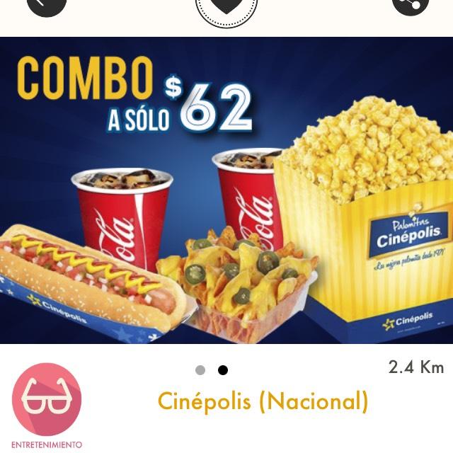 Cuponerapp: Cinépolis: Combo a $62