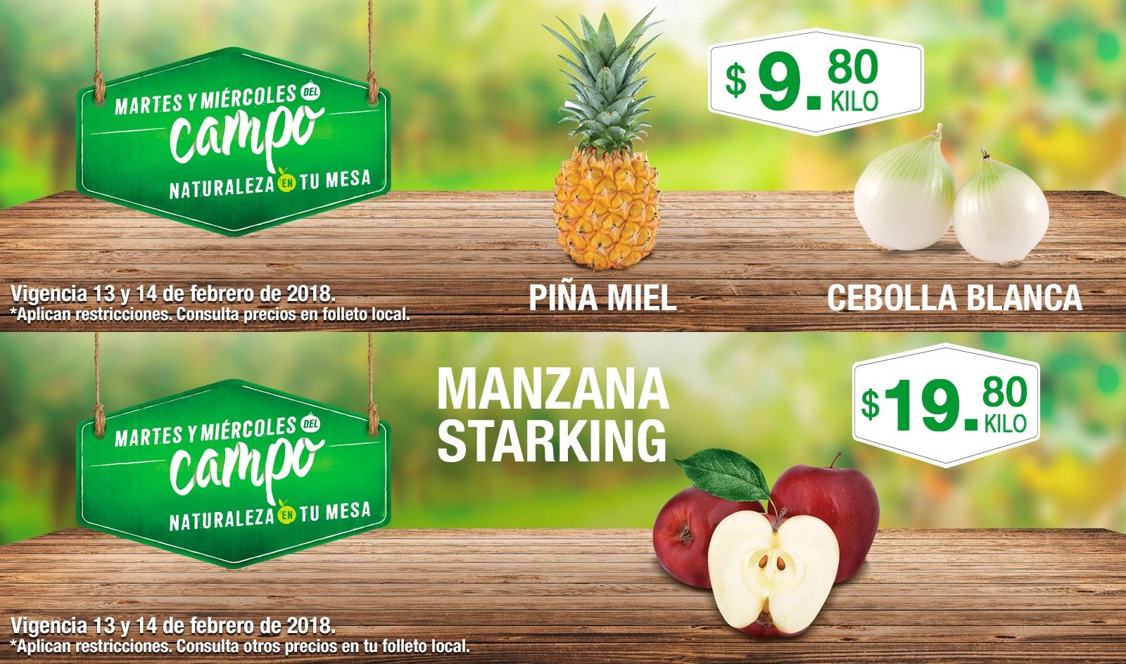 Comercial Mexicana y MEGA: Martes y Miércoles del Campo 13 y 14 Febrero: Piña Miel $9.80 kg... Cebolla Blanca $9.80 kg... Manzana Starking $19.80 kg.
