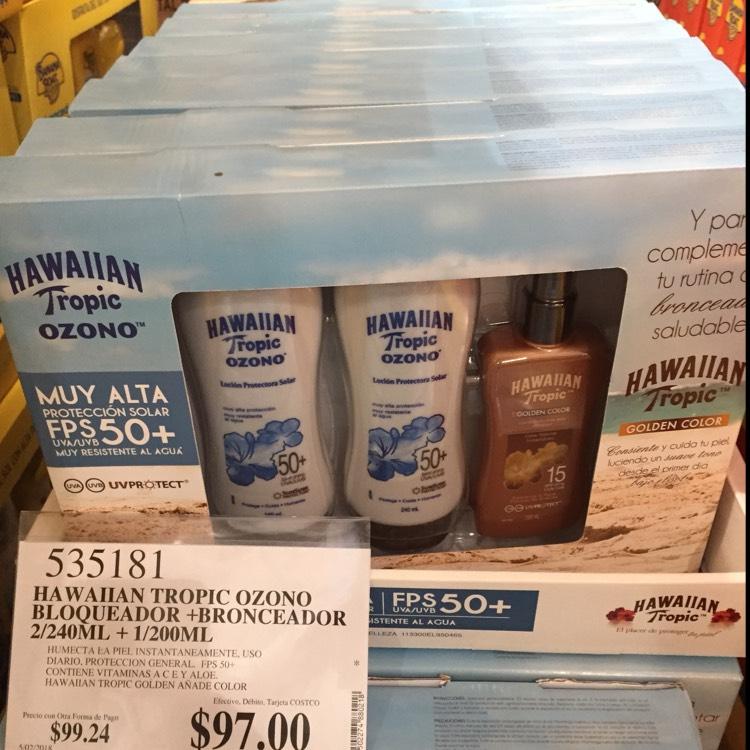 Costco Culiacán: Paquete Protector Solar Hawaiian Tropic FPS 50+