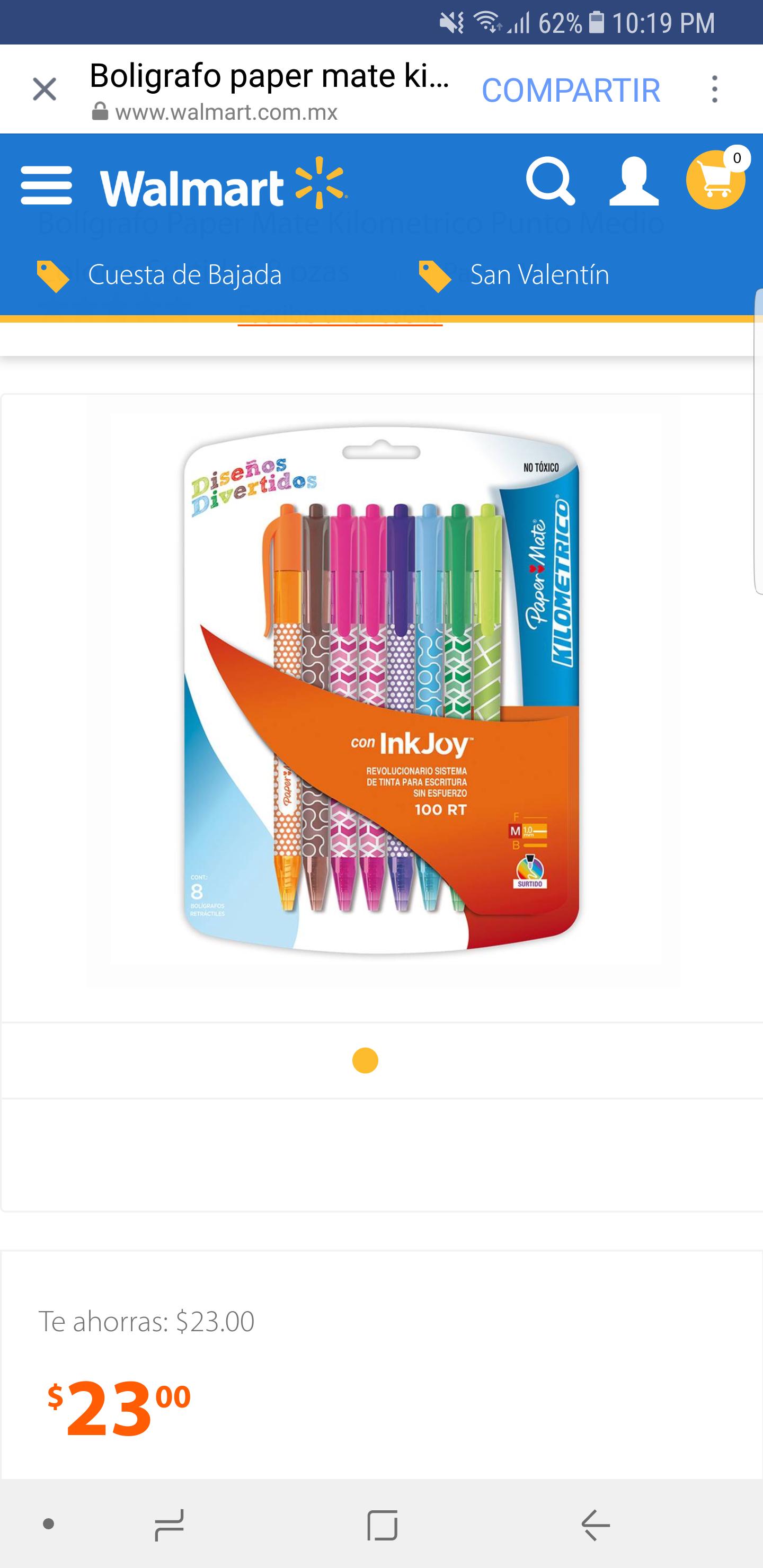 Walmart online: 8 plumas paper mate kilometrico de colores