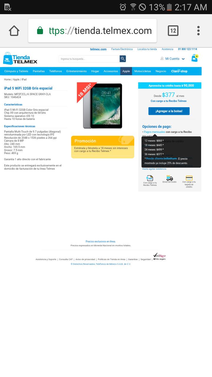 Tienda Telmex: IPAD 5 32GB WIFI 7999 A 18 MESES SIN INTERESES CON CARGO A RECIBO TELMEX 445 al mes