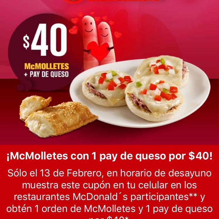 Martes McDonald's desayuno $40 y comida $80