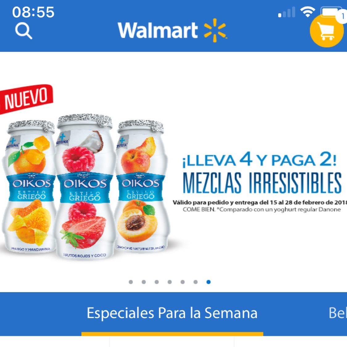 """Walmart Súper: Lleva 4 oikos y paga 2 """"válido del 15 al 28 de febrero""""!!!"""