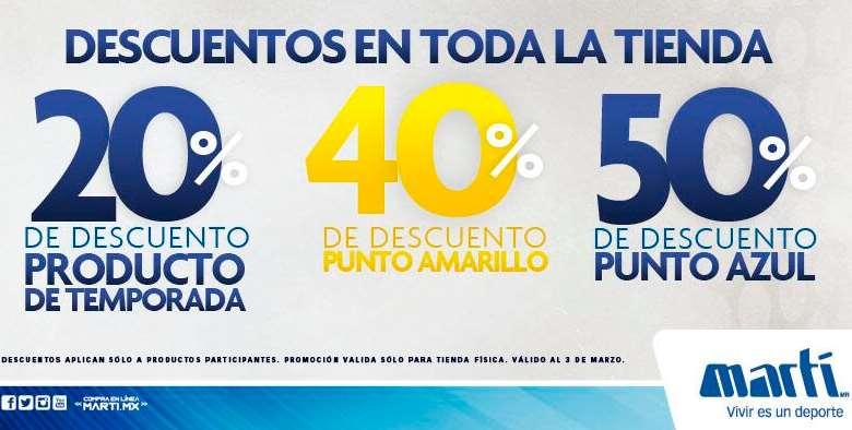 Martí: 20% de descuento en productos de temporada actual y hasta 50% en otras