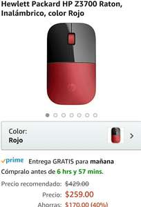 Amazon: Hewlett Packard HP Z3700 Raton, Inalámbrico, color Rojo