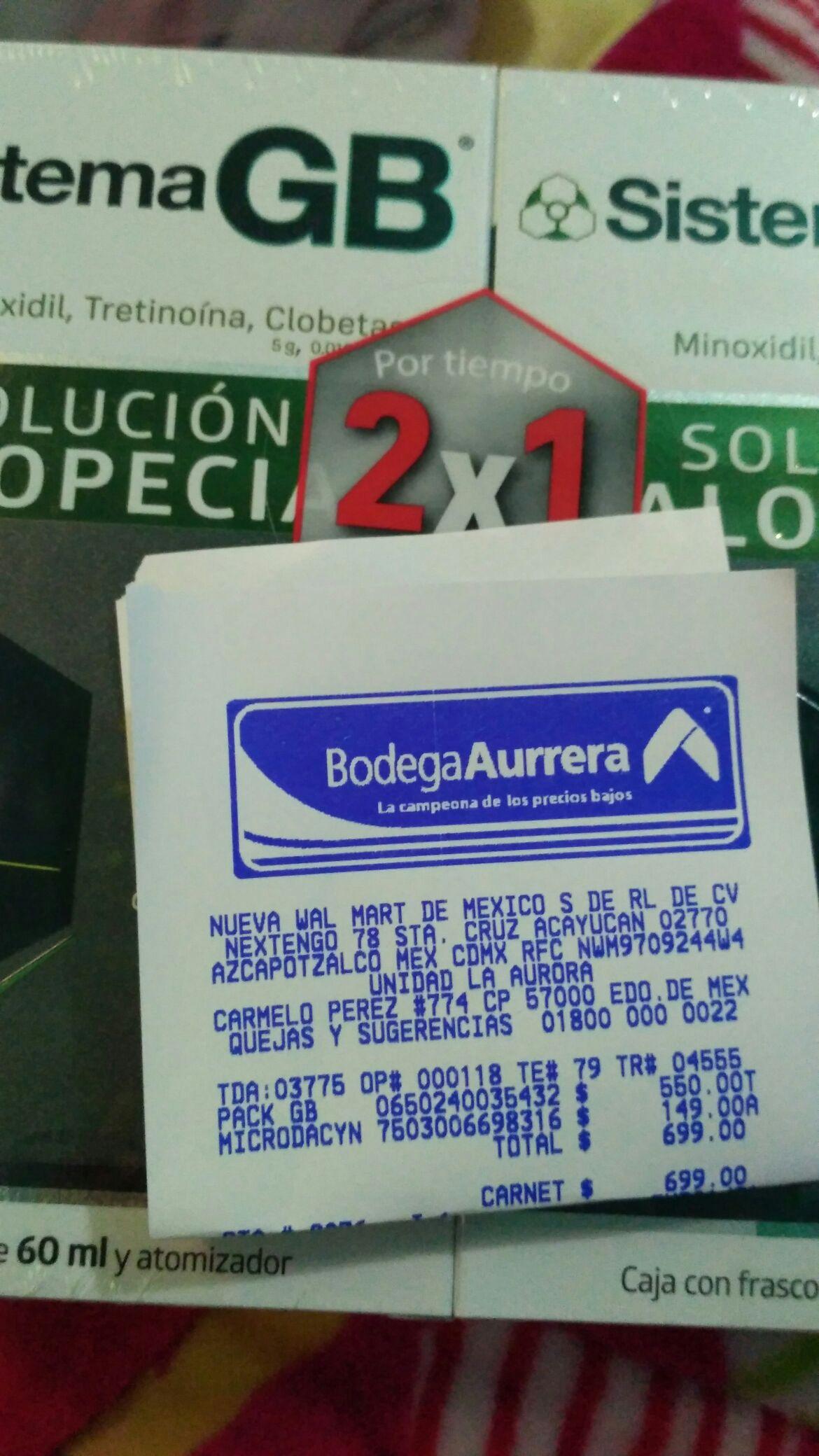 Bodega Aurrerá:  sistema gb al 2x1