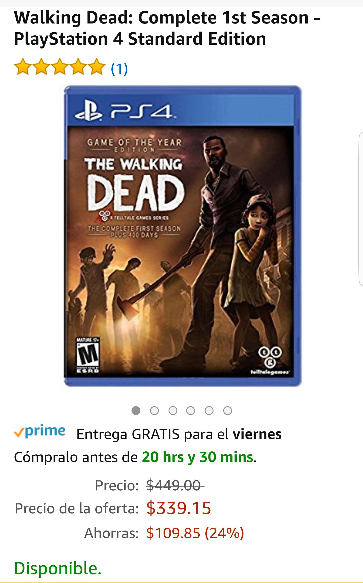 Amazon: Oferta Relámpago Walking Dead Complete 1st Season Ps4