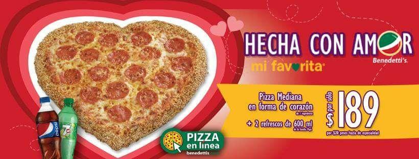 Benedetti's: pizza mediana forma de corazón y 2 refrescos de 600 ml