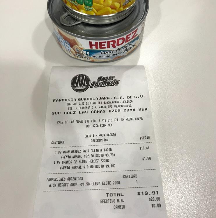Farmacias Guadalajara: Atún Herdez + $1.50 Grano de Elote