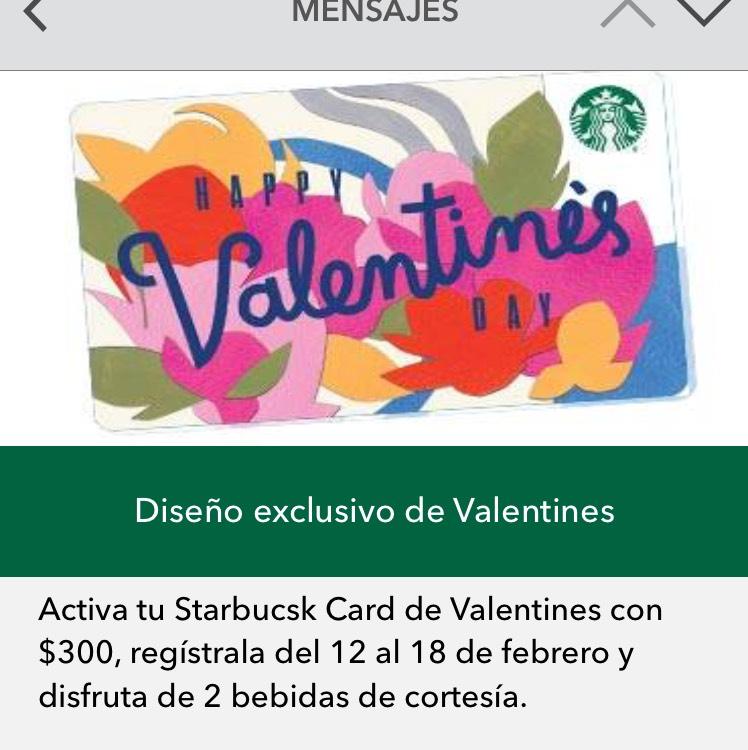 Starbucks: 2 bebidas al adquirir y recargar tarjeta Valentines
