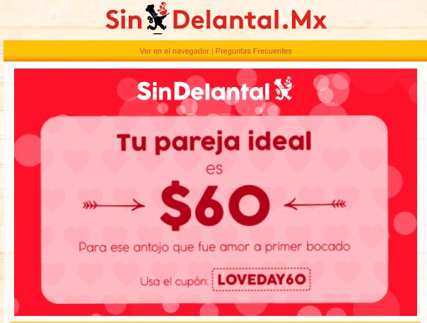 SIN DELANTAL: $60 Pesos de Descuento en tu orden pago en linea el 14 de Febrero