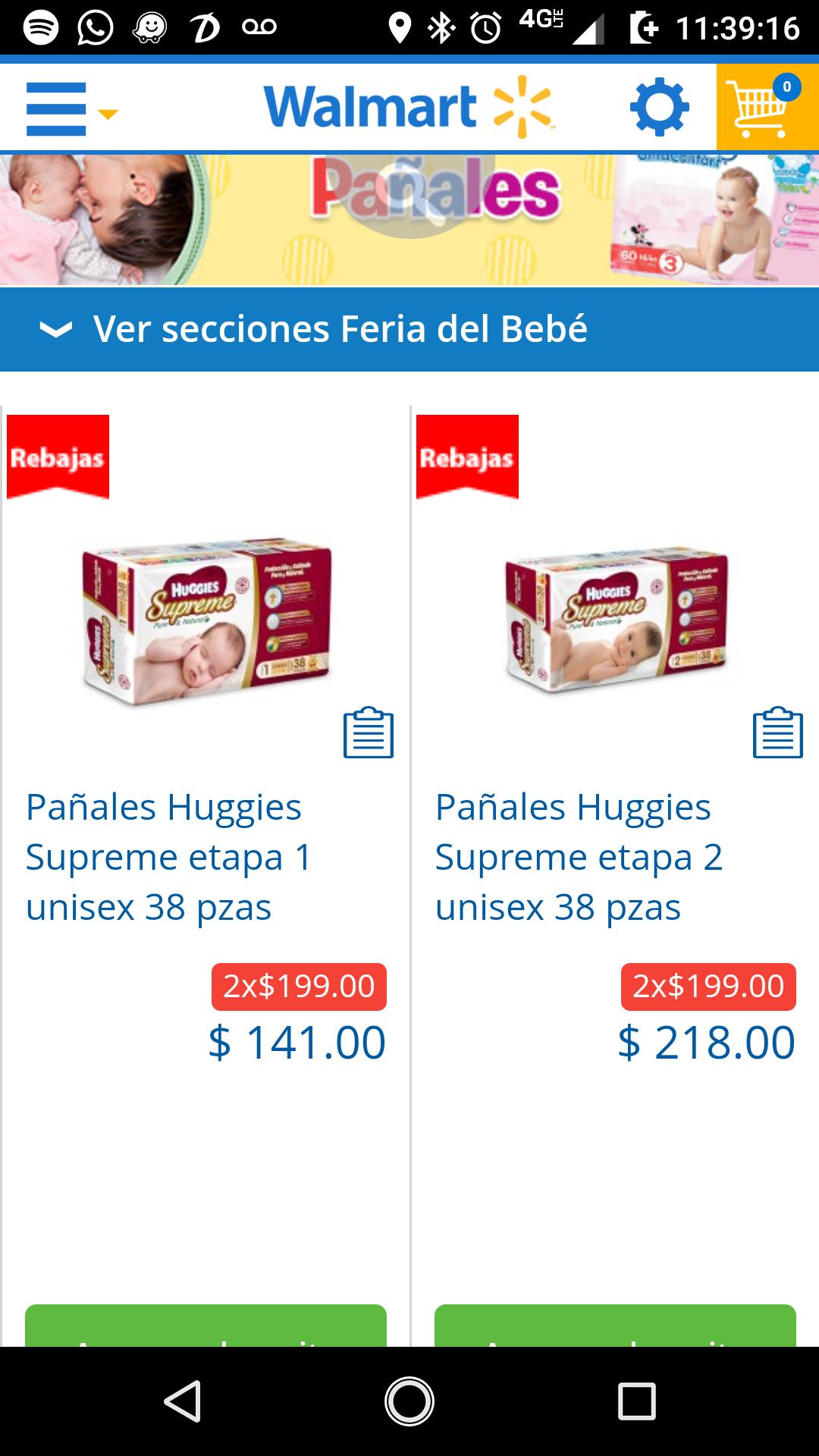 Walmart: online pañales Huggies supreme etapa RN, 1 y 2 a  2x$199