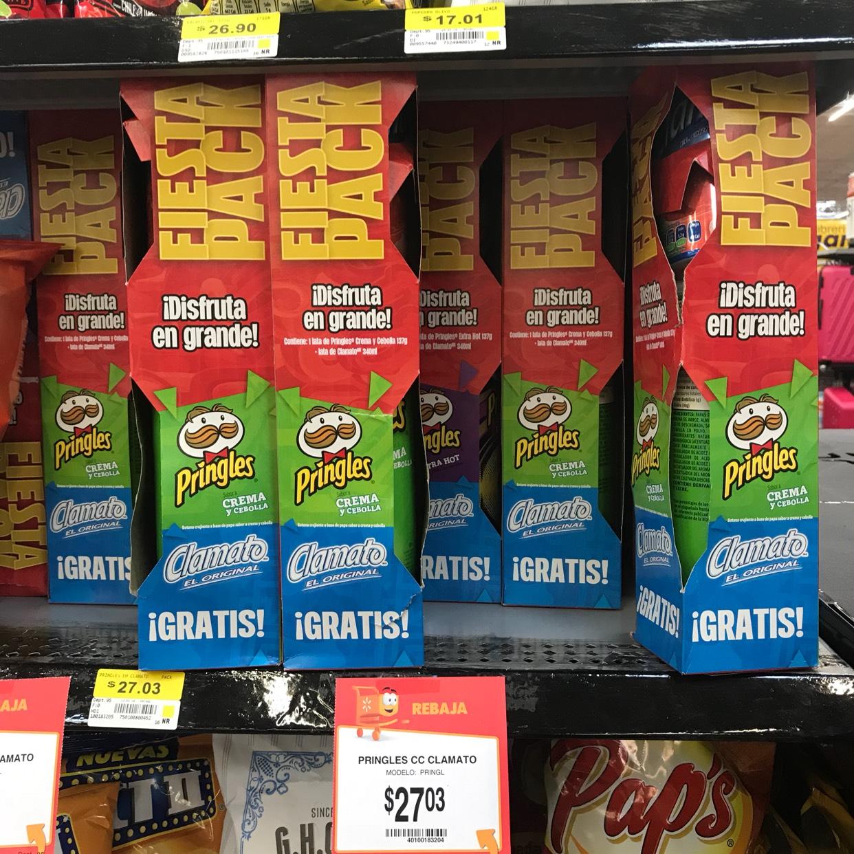 Walmart: Pringles con clamato $27.03