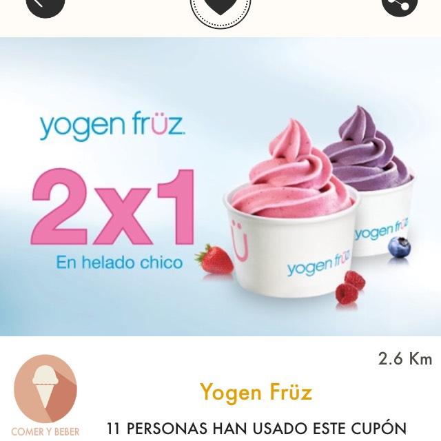 Cuponerapp: Yogen Früz: 2x1 en helado chico