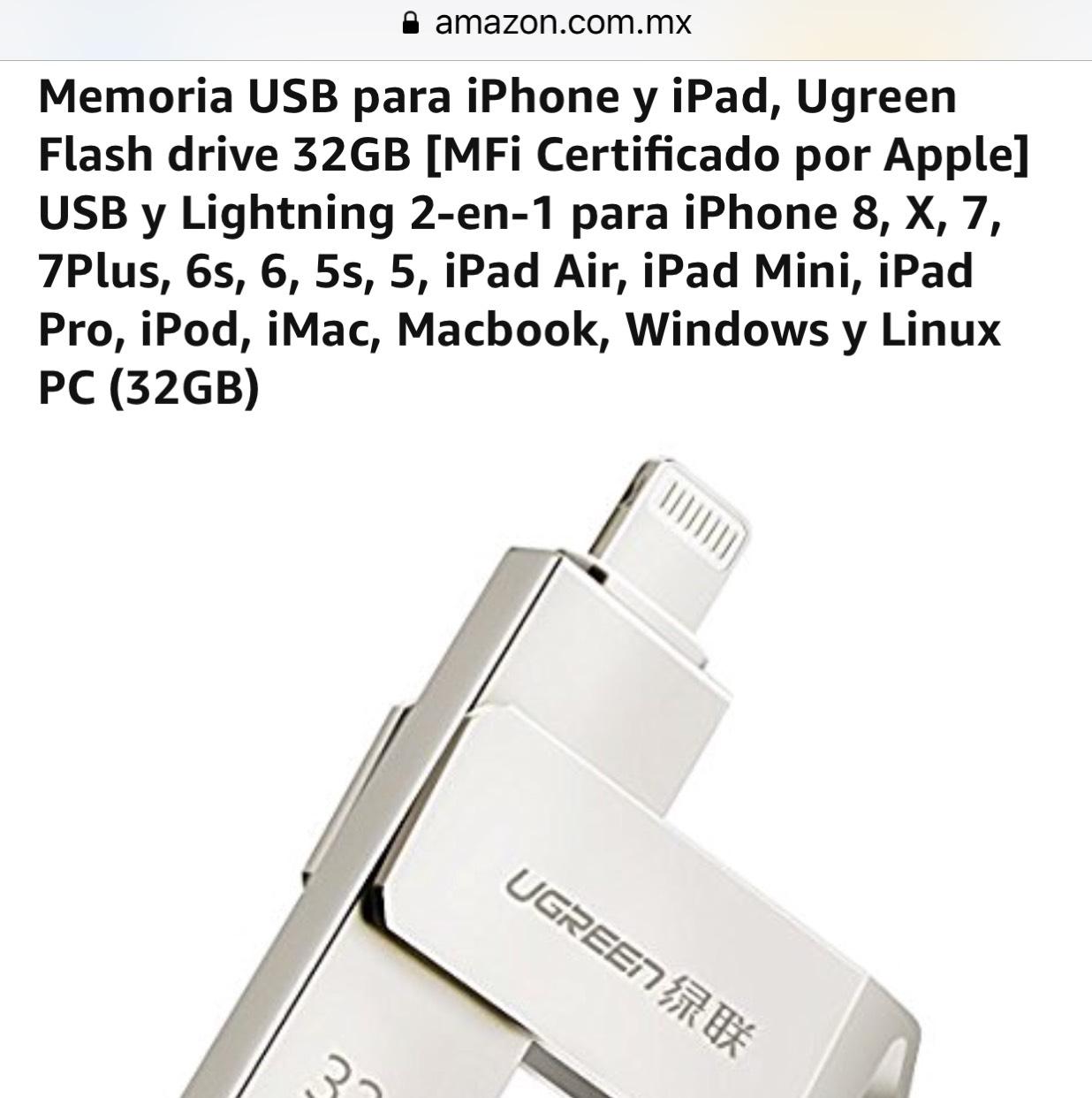 Amazon: OTG (no usb) para iPhone y iPad, Ugreen Flash drive 32GB Certificado MFI Y ENVIO GRATIS! (Prime)