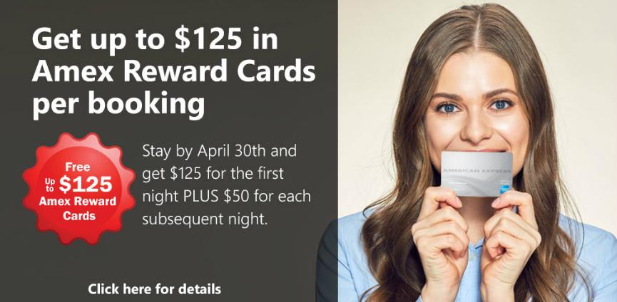Varios hoteles en Vancouver: tarjeta de regalo AMEX hasta 125 dólares + 50 por cada noche extra