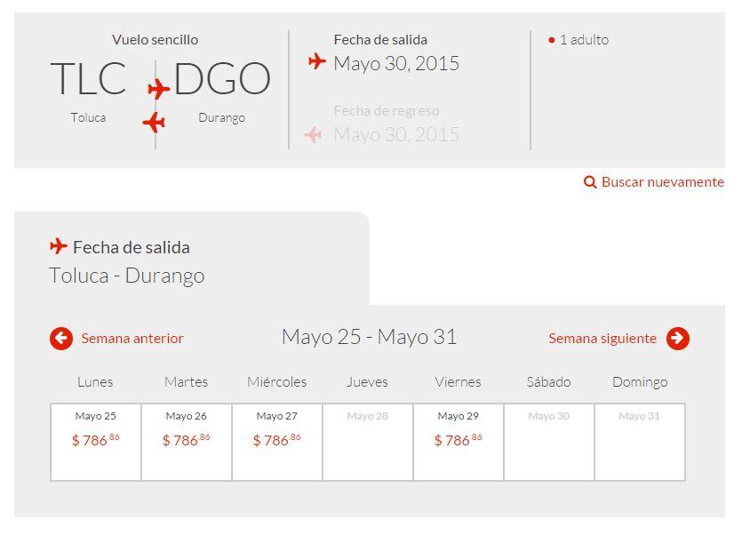 Tar: Vuelo Toluca - Durango $786 (casi 50% mas barato que en autobus)