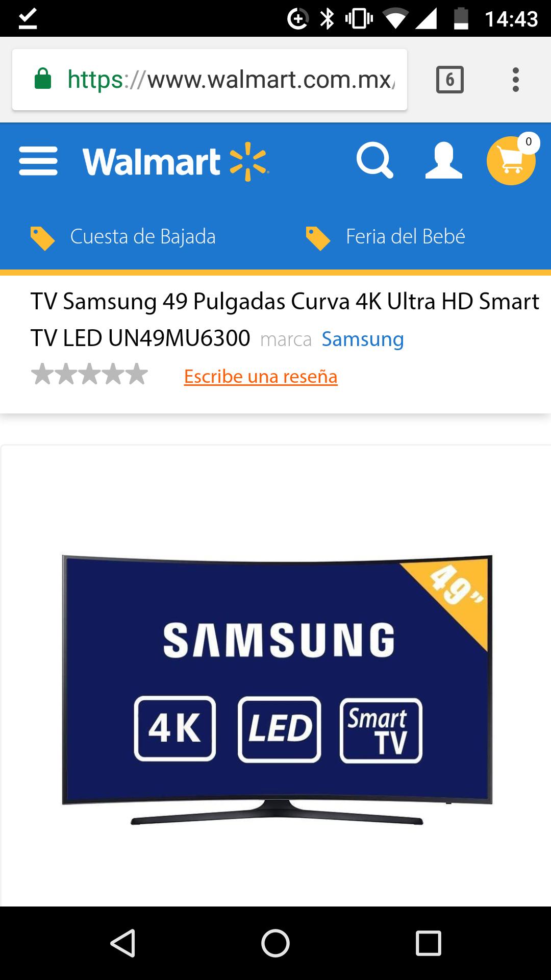 """Walmart: Pantalla Samsung 49"""" curva 4K UN49MU630"""