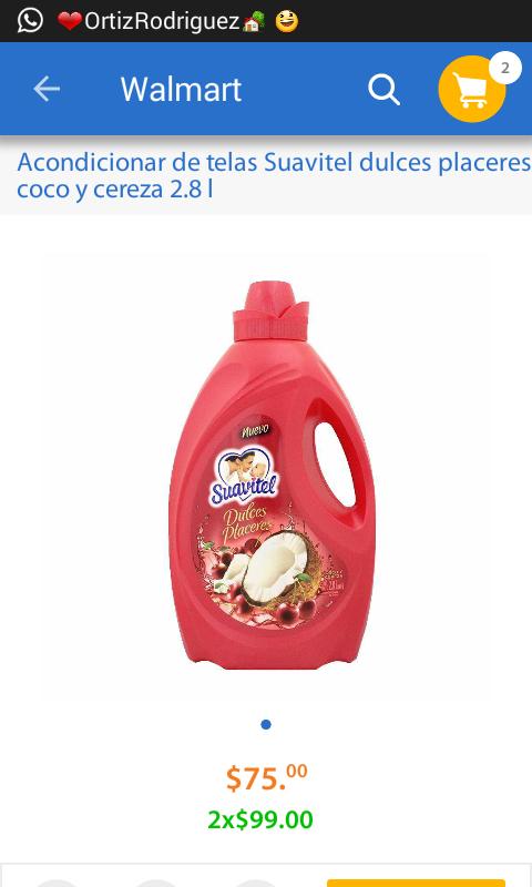 Walmart: Acondicionador de telas Suavitel dulces placeres 2.8L a 2x$99