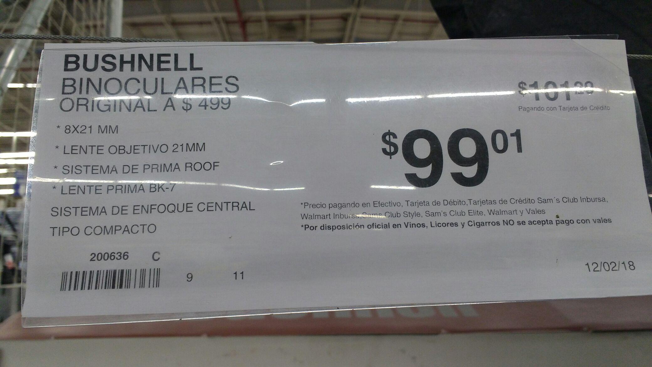 Sam's Club: Binoculares Bushnell, de $499 a $99