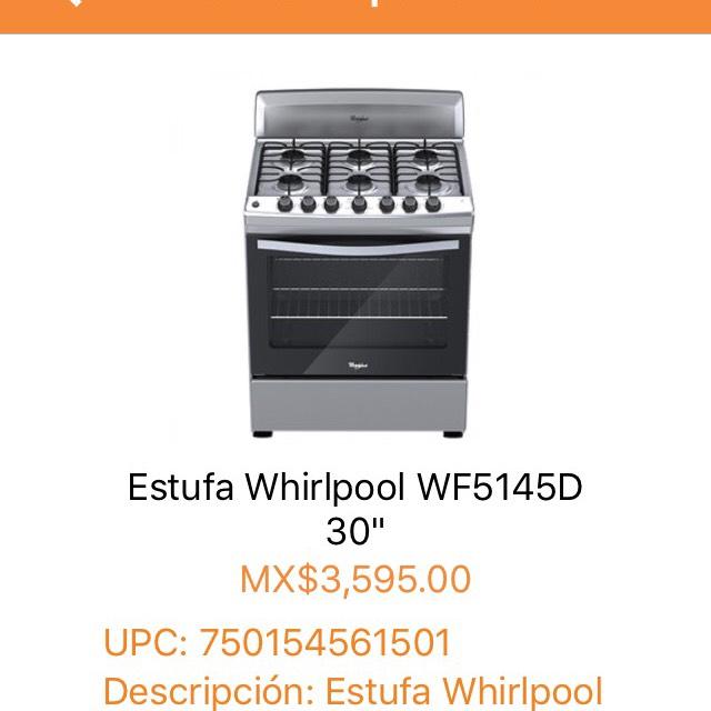 "Chedraui: Estufa Whirlpool WF5145D 30"" a $3,595"