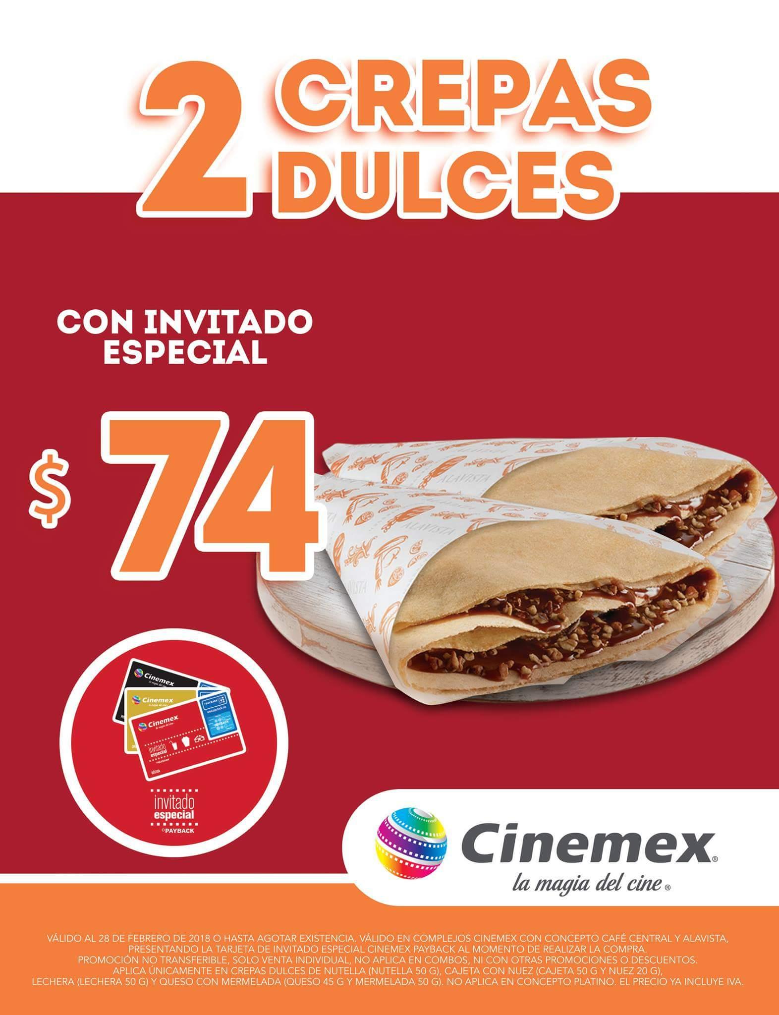 Cinemex: 2 crepas dulces por 74 con invitado especial