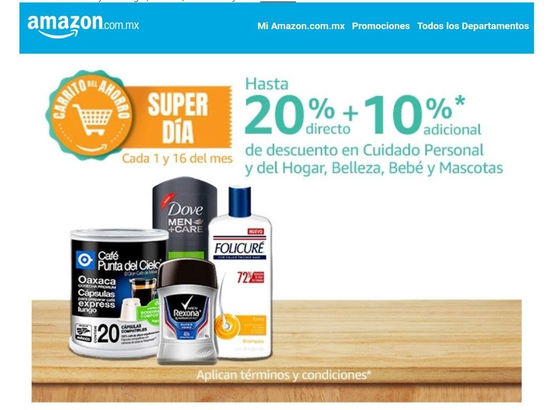 Amazon: 20% directo + 10% adicional de descuento en cuidado personal y más.