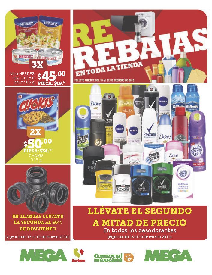 Comercial mexicana y MEGA: Folletos vigentes al 22 de febrero