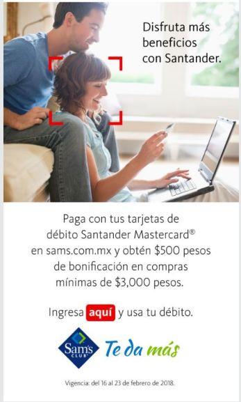 Sam's Club: $500 de descuento con Santander en SAMS.COM.MX, compra mínima $3,000