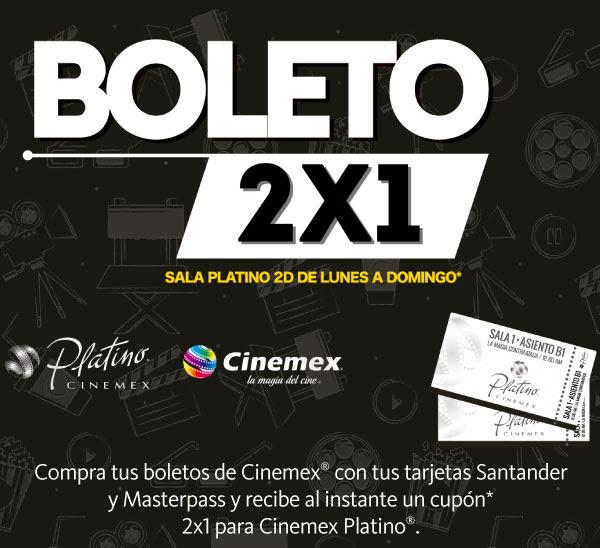 2x1 en Cinemex Platino con Masterpass y Santander