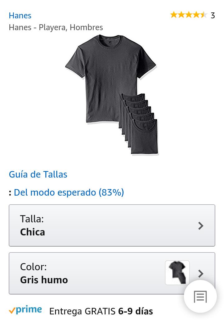 Amazon: Playera Hanes, talla chica (paquete de 6)
