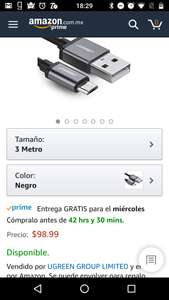 Amazon: UGREEN Cable USB - Micro USB 3 metros