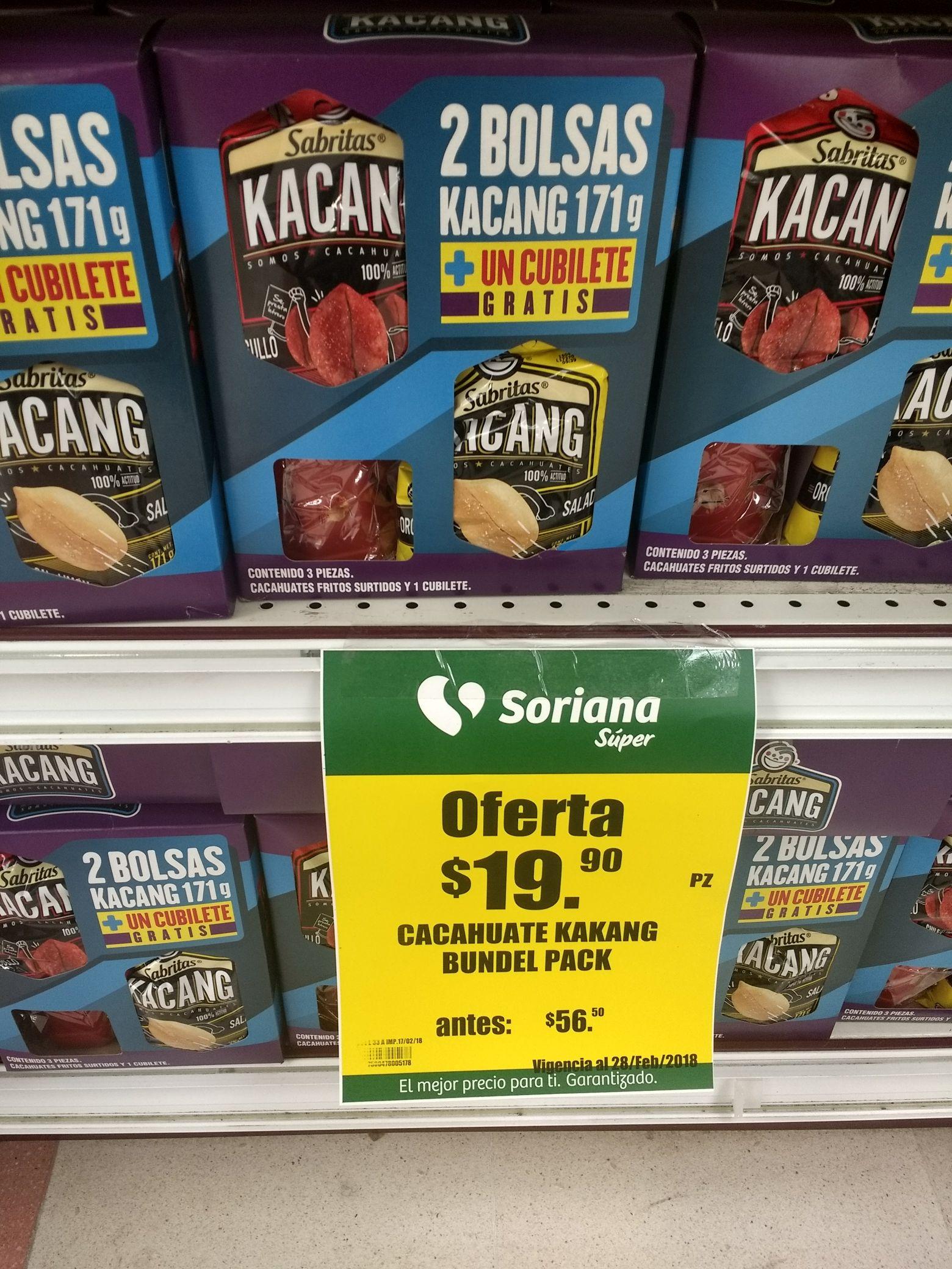 Soriana súper: 2 bolsas de cacahuates kacang sabritas de 171g + cubilete de regalo