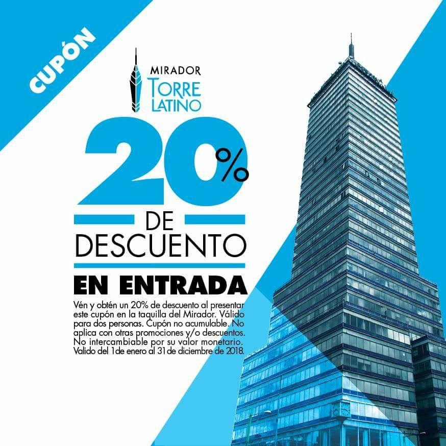 Mirador torre latino: 20% de descuento todo el año.