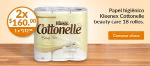 Superama en linea Papel higiénico Kleenex Cottonelle beauty care 18 rollos. 2 x160