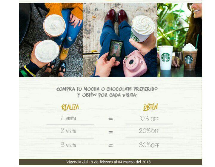Starbucks descuento de hasta el 30% en bebidas