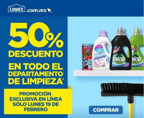 Lowes: 50% de descuento en todo el departamento de limpieza