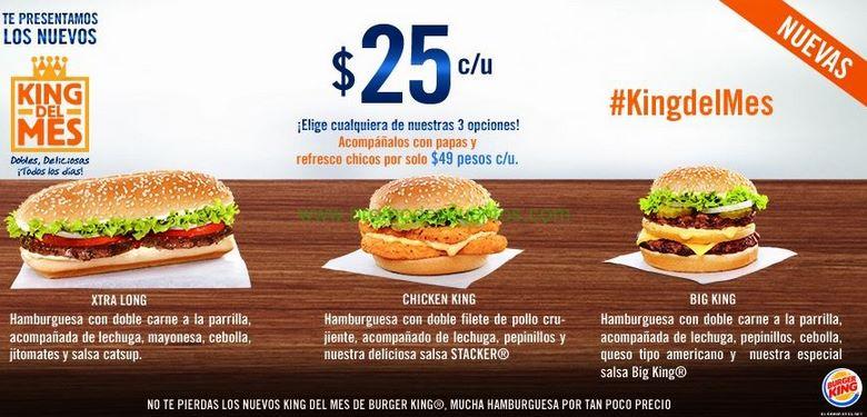 Burger King: hamburguesas dobles King del mes $25