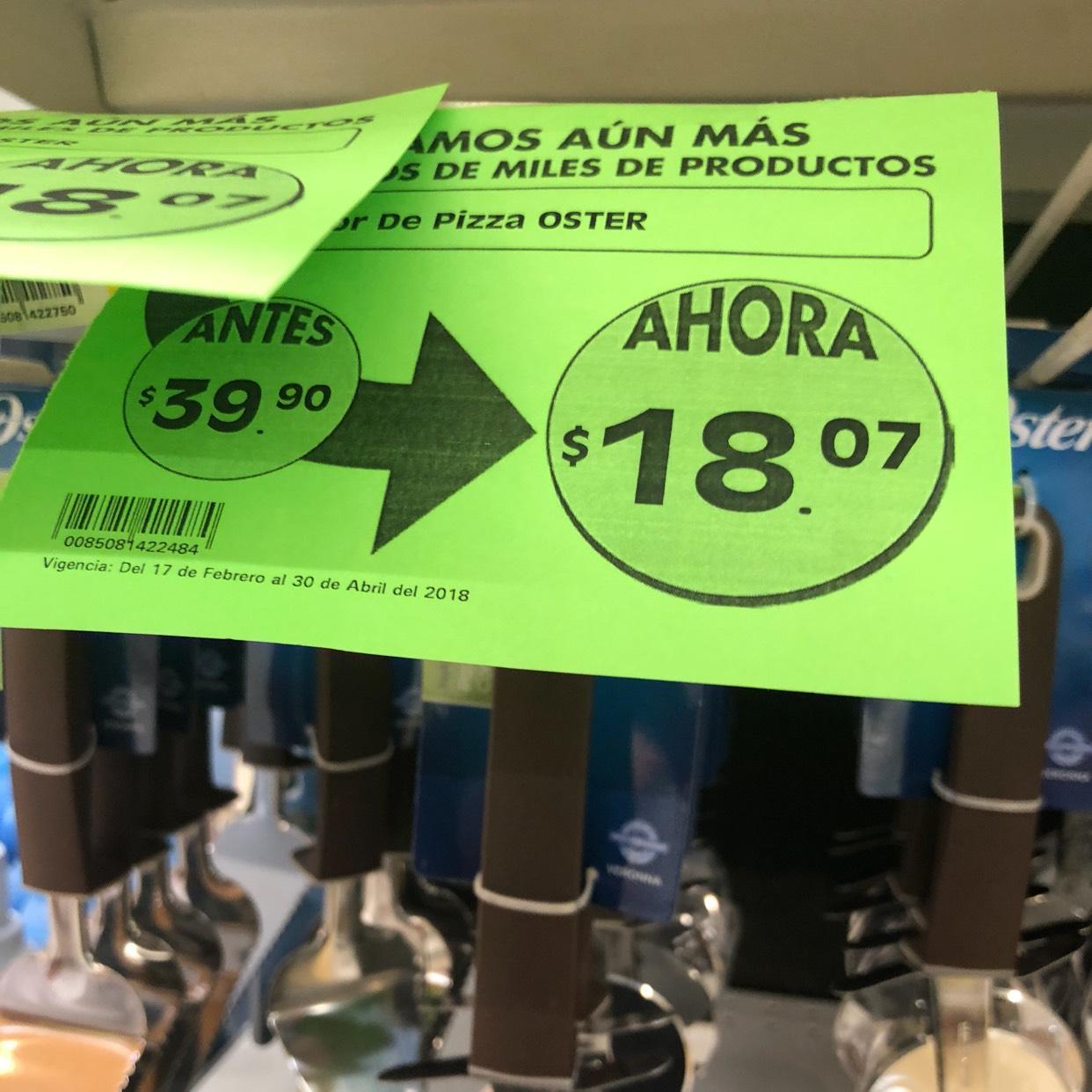 Mega Comercial Mexicana: Cortador de pizza y pelador de $39 a $18 C/U