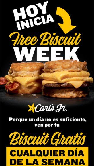 Carl's Jr: Free biscuit week! Solo con tarjeta SoyFan