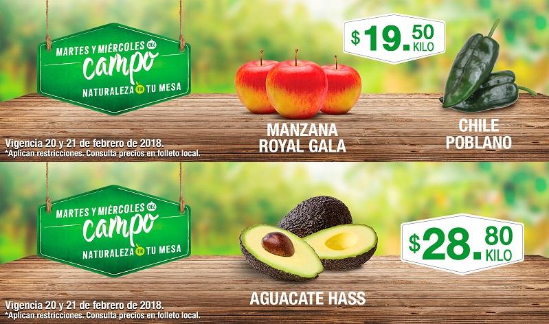 Comercial Mexicana y MEGA: Martes y Miércoles del Campo 20 y 21 Febrero: Manzana Royal Gala $19.50 kg... Chile Poblano $19.50 kg... Aguacate Hass $28.80 kg.