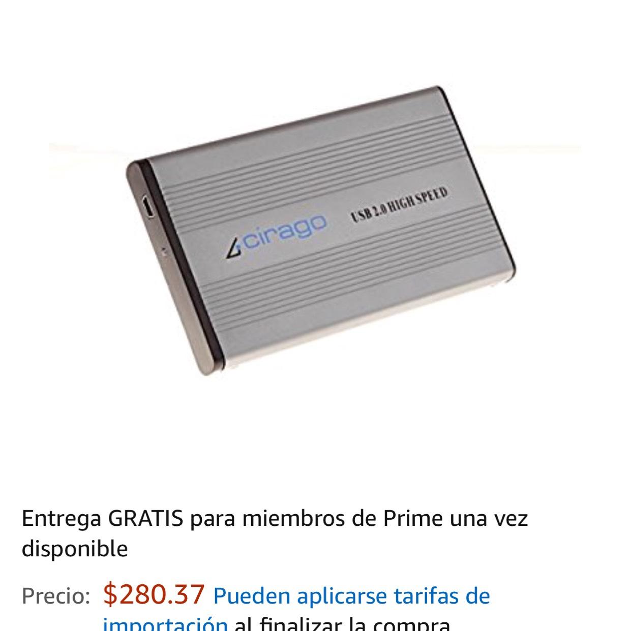 Amazon: Case para Disco Duró Portatil Cirago cst1000 usb2.0 (Envió Gratis Prime)