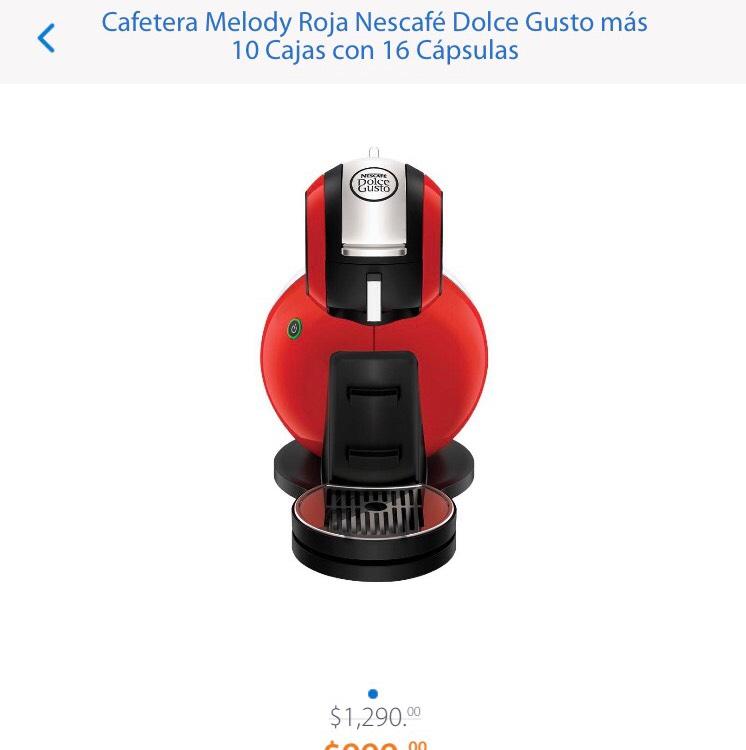 Walmart: Cafetera Melody Roja Nescafé Dolce Gusto más 10 Cajas con 16 Cápsulas