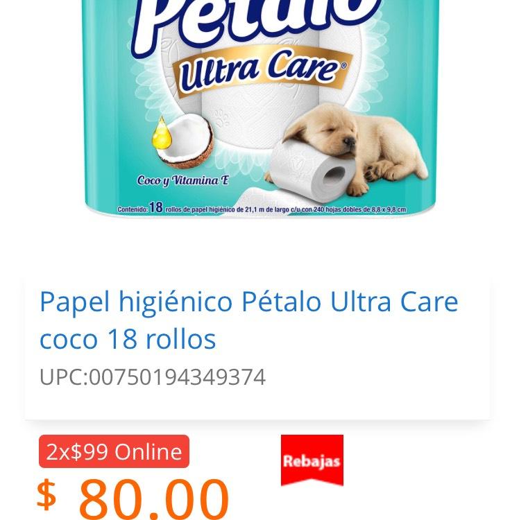 Walmart Súper: 2 Papel higiénico Pétalo Ultra Care coco 18 rollos x $99