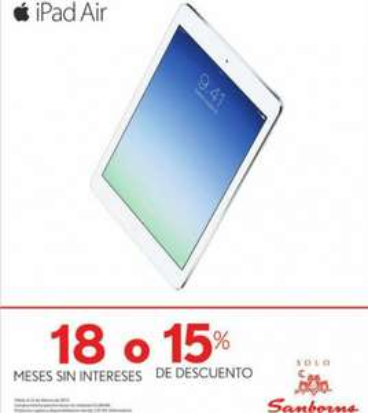 Sanborns: 15% de descuento en iPads
