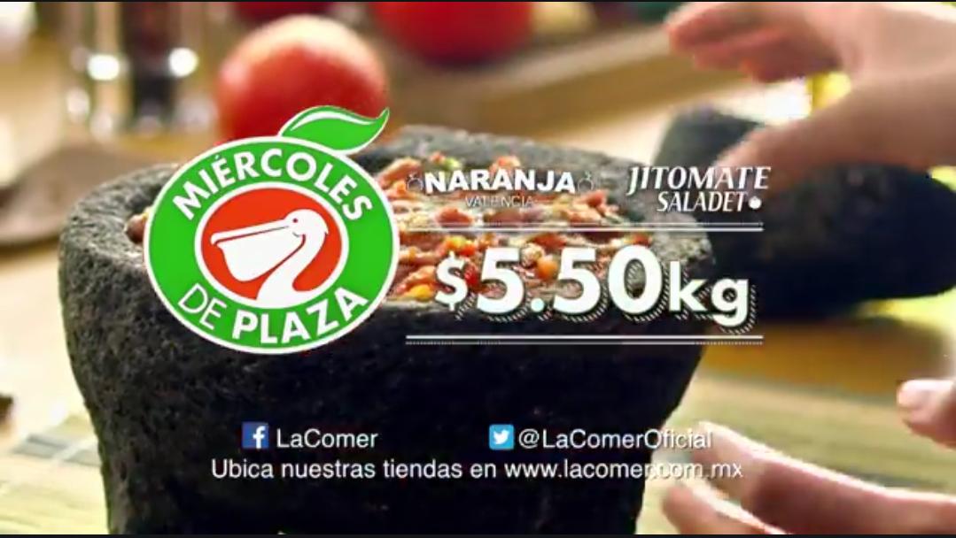 La Comer y Fresko: Miércoles de Plaza 21 Febrero:Naranja Valencia $5.50 kg... Jitomate Saladet $5.50 kg... Manzana Starking $18.50 kg... Mango Ataulfo $18.50 kg.