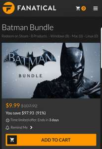 Fanatical: Bundle batman canjeable en steam 90% de ahorro