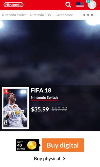 Nintendo e-shop(USA):  Fifa 18 Nintendo Switch U$35.99