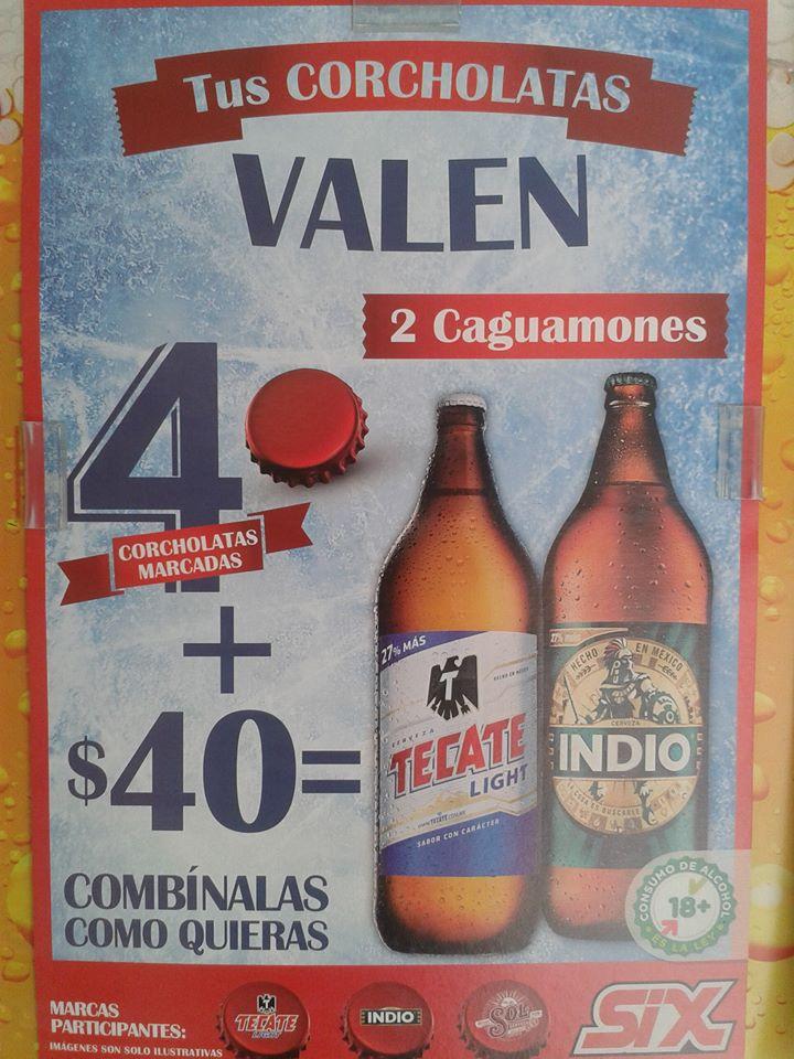 4 corcholatas marcadas + $40 = 2 Caguamones de 1.2 L de Indio o Tecate Light